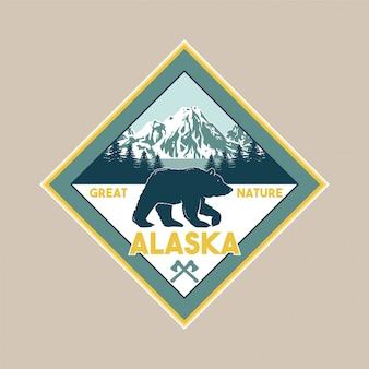 알래스카 숲에서 그리 즐리 베어의 야생 동물과 빈티지 패치. 모험, 여행, 캠핑, 야외, 자연, 황야, 탐험.