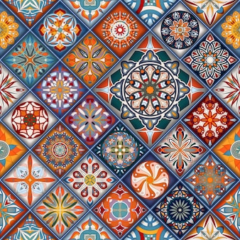 Vintage patchwork tile decorative elements.