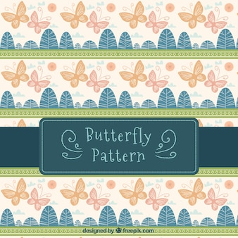 Vintage pattern of butterflies and abstract trees