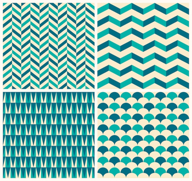 Vintage pattern collection. set of four seamless pattern with geometric motifs