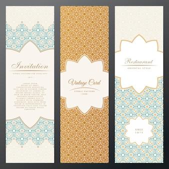 빈티지 패턴 레이블 세로 카드 민족 디자인 동부 꽃 프레임