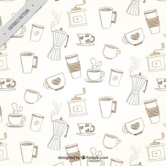 커피 액세서리의 빈티지 패턴 무료 벡터