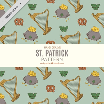Vintage pattern of harp and other saint patrick elements