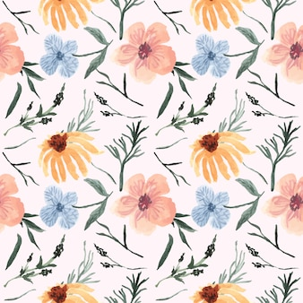 Vintage pattern pretty floral with watercolor