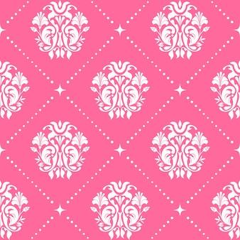 ピンク色のヴィンテージパターンのシームレスなバロック様式。