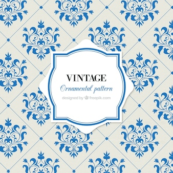 Vintage pattern of tiles with flowers