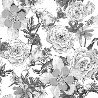 Vintage pattern with blooming flowers