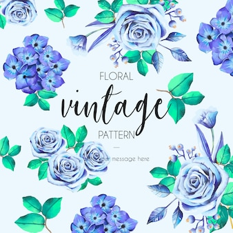 Vintage pattern with blue roses
