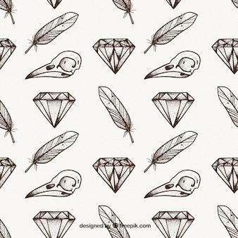다이아몬드와 깃털 빈티지 패턴