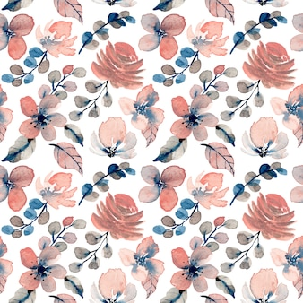 Vintage pattern with floral watercolor