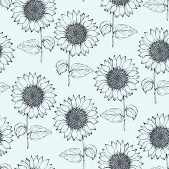Vintage pattern with outline pen sunflowers