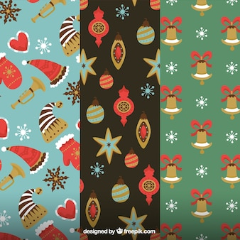 Vintage patterns of christmas elements
