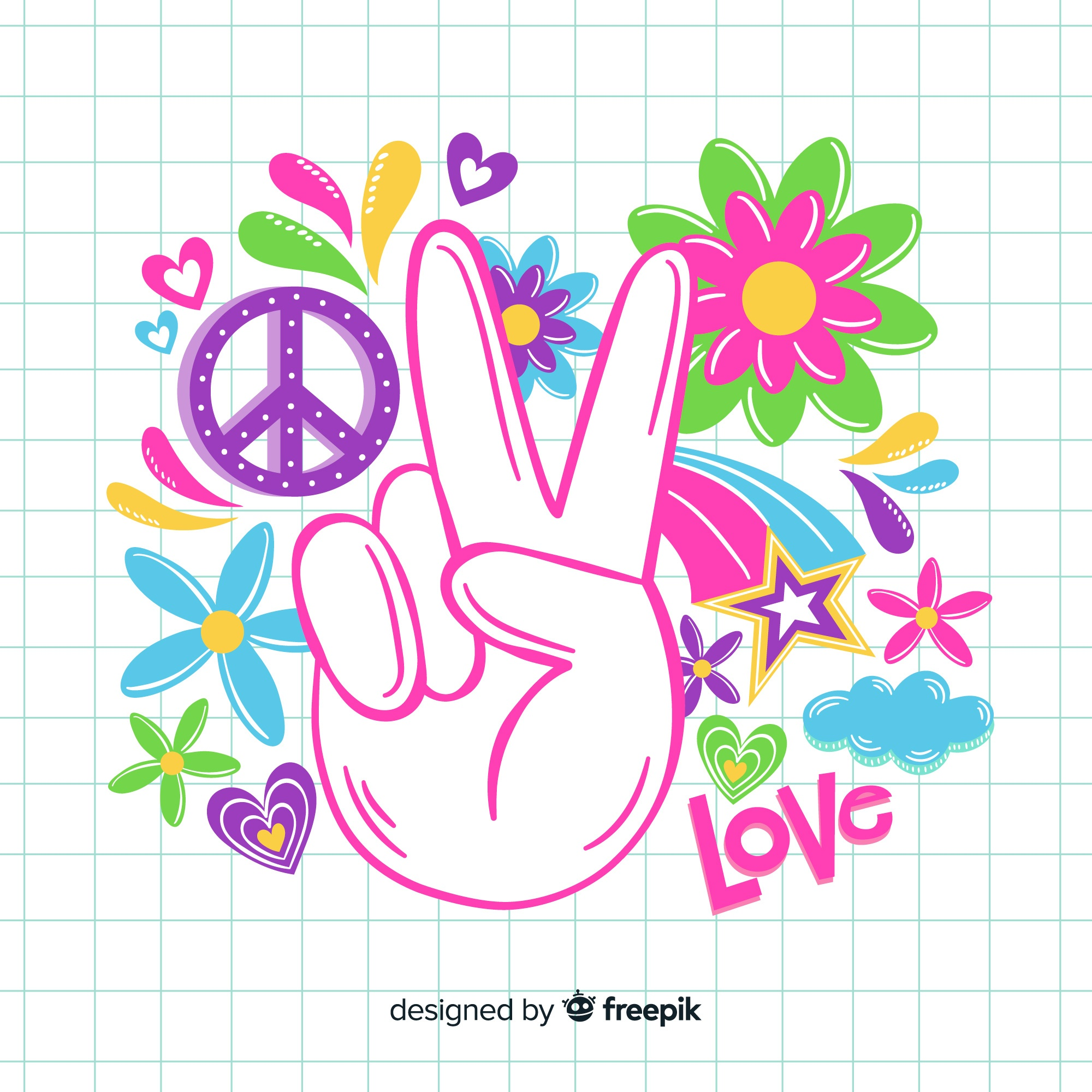 Vintage peace sign hand