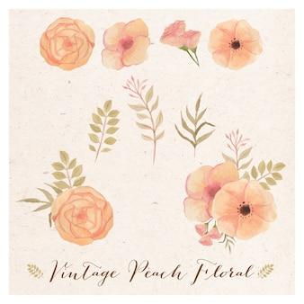 Vintage peach floral