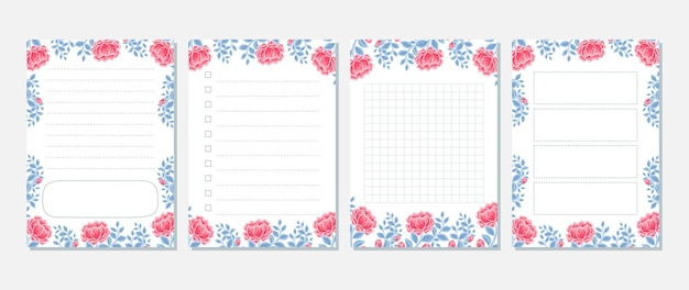 Vintage peony floral memo, notepad, to do list, daily planner collection