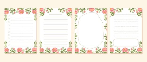 빈티지 작약 꽃 메모, 메모장, 할 일 목록, 일일 플래너 컬렉션