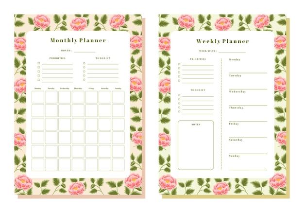 Шаблон ежемесячного и еженедельного планировщика vintage peony floral