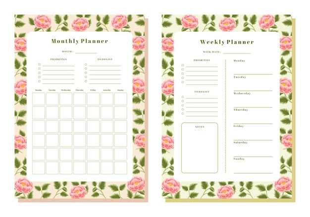 Vintage peony floral monthly and weekly planner template