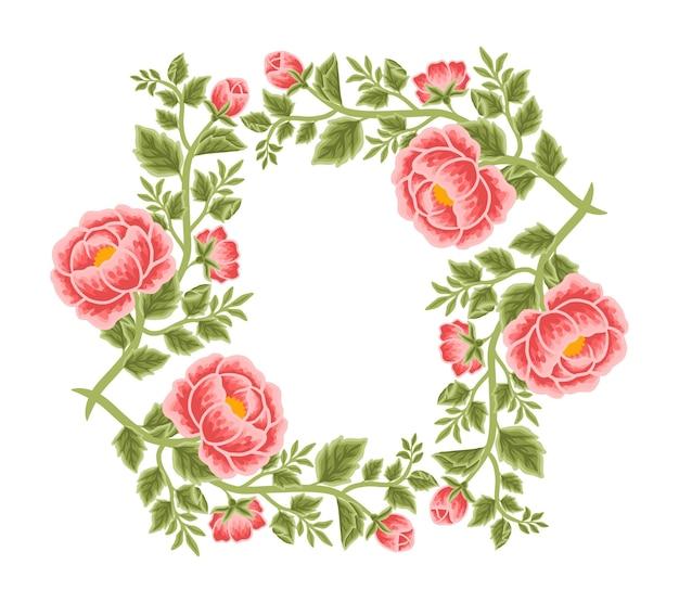 Vintage peony flower frame and wreath arrangements