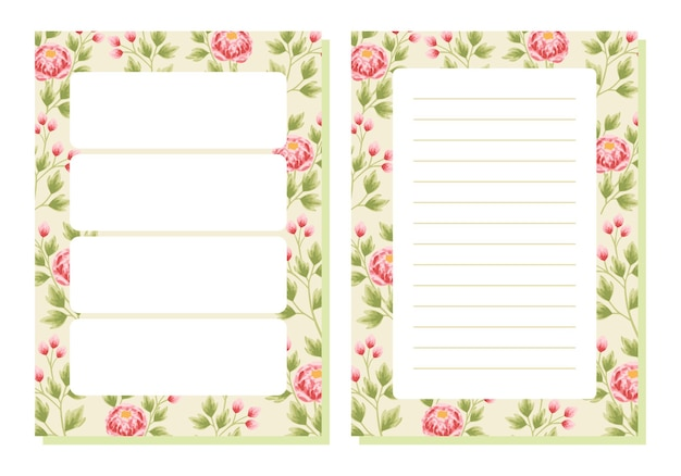 Vintage peony flower planner and note paper template