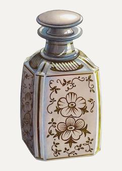 Illustrazione vettoriale di bottiglia di profumo vintage, remixata dall'opera d'arte di erwin schwabe