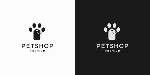 Vintage pet shop with pet paws logo template