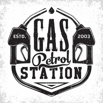 Vintage petrol station logo design with an emblem of gasoline station