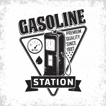 Vintage petrol station logo design with an emblem of gasoline station