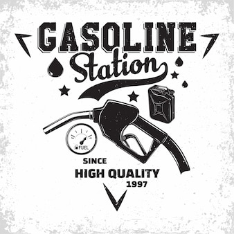 Vintage petrol station logo , emblem of gasoline station, gas or diesel filling station typographyv emblem, print stamps with easy removable grange,