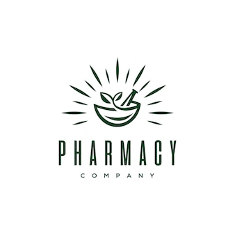 Vintage pharmacy medical logo with natural mortar and pestle design vector template