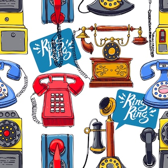 Фон старинных телефонов