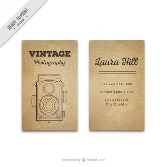 Vintage photo card with hand drawn antique camera