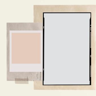 Collage estetico vettoriale di cornici per pellicole fotografiche vintage Vettore gratuito