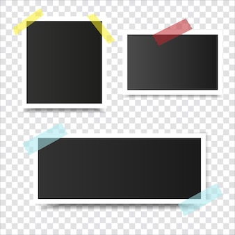 Vintage photo frame with adhesive tape and shadow isolated realistic vector illustration
