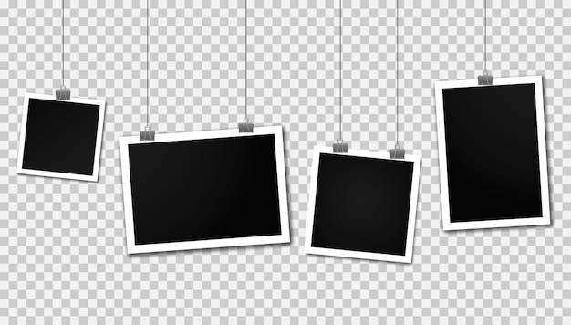 Винтажные фоторамки, висящие на зажимах. набор фоторамок. реалистичные подробные фото шаблон дизайна значка. пустая рамка для фотографий висит на линии. вертикальный и горизонтальный шаблон фото дизайна