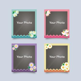 꽃과 함께 빈티지 사진 프레임