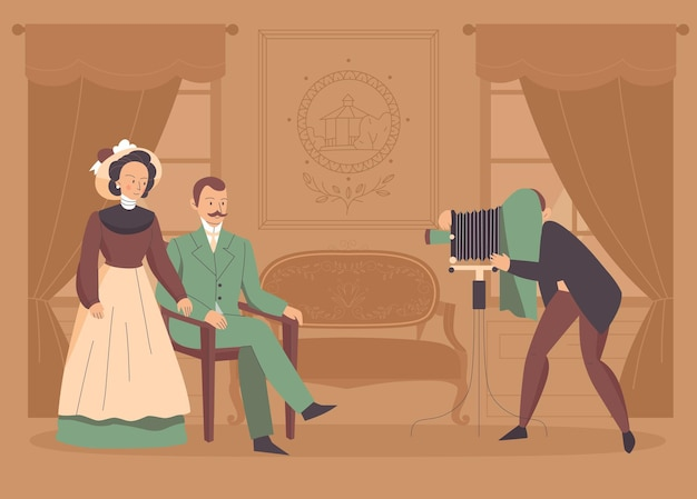 カメラとポーズの家族のカップルのイラストとビンテージ写真家の背景