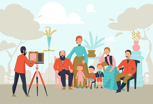 Fondo del fotografo dell'annata con la macchina fotografica e posa dell'illustrazione delle coppie della famiglia