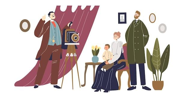 スタジオまたは自宅でビンテージ写真家の撮影家族。幸せな母、父と子のキャラクターが壁に掛かっている写真とリビングルームでフォトアルバムのポーズをとっています。漫画の人々のベクトル図