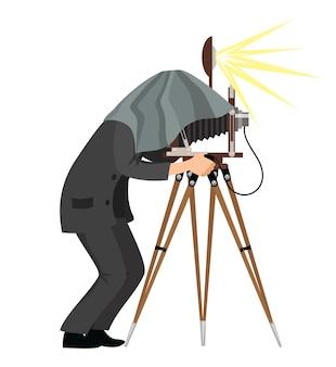 레트로 카메라, 흰색 배경에 고립 된 오래 된 스타일 스튜디오에서 사진을 촬영하는 남자와 빈티지 사진 작가.