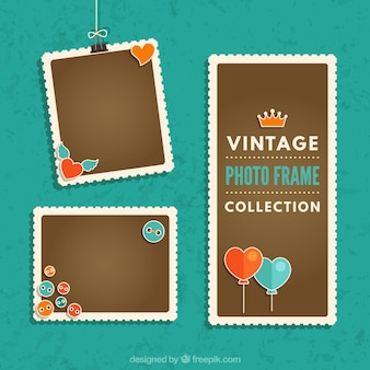 Vintage photography frames collection with heart balloons