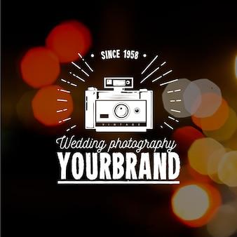 Vintage photography logo with photo background