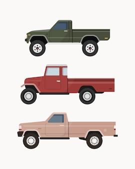ヴィンテージピックアップトラック。ピックアップトラックのセット。