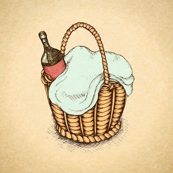 Vintage picnic basket with food and wine