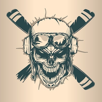 Vintage pilot skull, monochrome hand drawn tatoo style