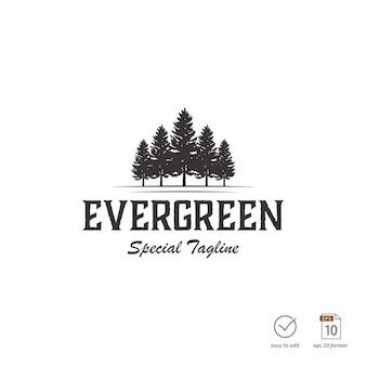 Винтажная концепция дизайна сосны для наружного логотипа