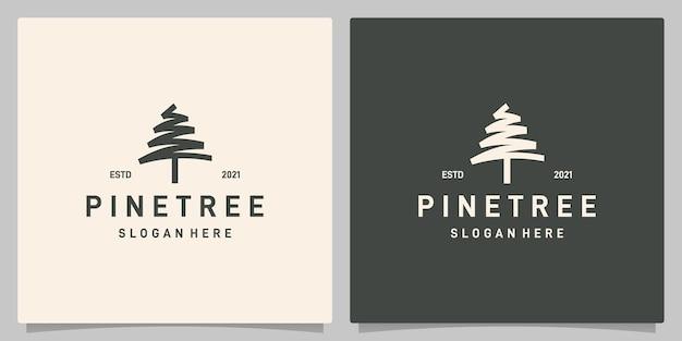 빈티지 소나무 디자인 로고 벡터, evergreen 로고 디자인 영감. 프리미엄 벡터