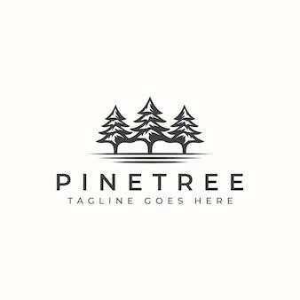 Vintage pine tree logo template.