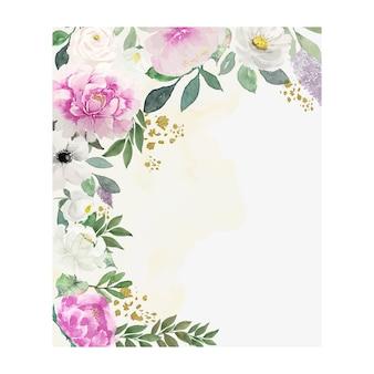 녹색 빈티지 분홍색과 흰색 꽃 오픈 복사 공간 카드와 수채화 잎