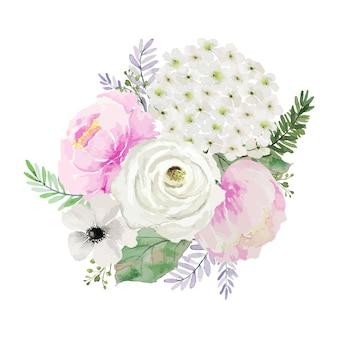 빈티지 분홍색과 흰색 꽃 꽃다발 수채화